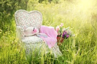 Ein Sessel in der Natur zwischen den Gräsern