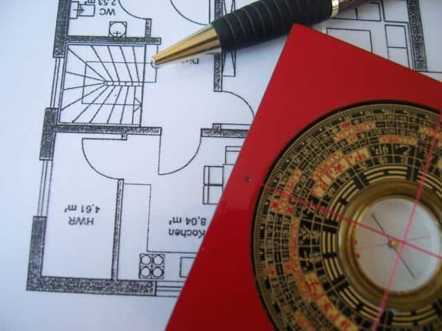 Ein Luo Pan Kompass und Grundriss