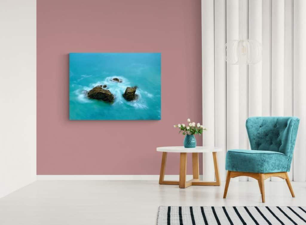 Kunstbild von André Wagner Wasser mit 3 Steinen
